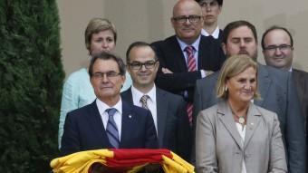 El president de la Generalitat, Artur Mas, a l'acte institucional de la Diada al costat de la presidenta del Parlament, Núria de Gispert, aquest dimecres al parc de la Ciutadella de Barcelona REUTERS