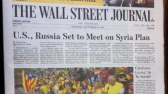 Portada de l'edició europea del diari 'The Wall Street Journal' d'aquest dijous ACN