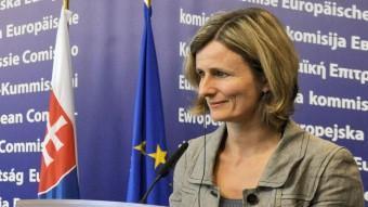 La portaveu de la Comissió Europea Pia Ahrenkilde, durant una roda de premsa aquest dijous ACN