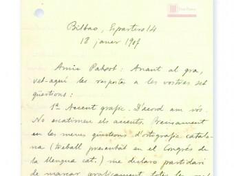 Carta manuscrita de Pompeu Fabra ARXIU