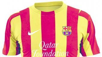Els jugadors del Barça, el dia de l'estrena oficial de la samarreta amb els colors de la senyera AFP