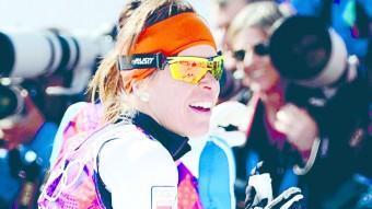 Laura Orgué, després de creuar la línia d'arribada dels 30 km, en els quals va aconseguir la desena posició EFE