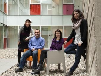 D'esquerra a dreta, Calafell, Viciana, Fonolleda i Banqué, a la UAB.  JOSEP LOSADA