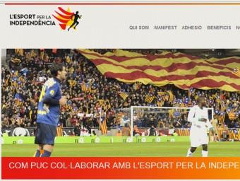 Imatge de portada del lloc web www.esportindependencia.cat, on es pot adherir-se a la campanya l'Esport per la Independència INTERNET
