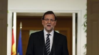 El president espanyol, Mariano Rajoy, durant la declaracions institucional REUTERS