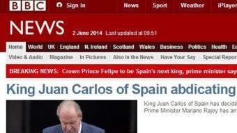 La notícia de l'abdicació, a la BBC ACN