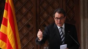 El president de la Generalitat, Artur Mas, durant la seva compareixença ACN