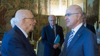 Duran amb el president de la república d'Itàlia, Giorgio Napolitano, ahir a Roma ACN