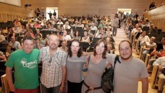 Els participants a l'acte organitzat ahir per la CUP. D'esquerra a dreta, Tomeu Martí, Toni Infante, Marta Serra, Anna Pujolàs i David Fernández LLUÍS SERRAT