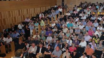 Josep Rull, adreçant-se al públic, ahir, en la conferència que va fer a l'auditori de Girona MANEL LLADÓ