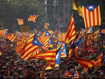 Vista de la manifestació del passat 11 de Setembre, a la Gran Via de Barcelona ELISABETH MAGRE / ARXIU