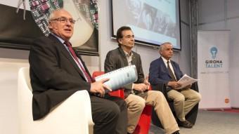 Ernest Plana, de FOEG, Pere Cornellà, de PIMEC, i Jaume Fàbrega de la Cambra a la Sala emprendoria GLORIA SÁNCHEZ