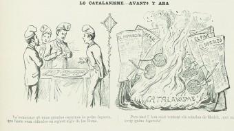 Acudit publicat a 'La Campana de Gràcia' en què es vincula el creixement del catalanisme ambles campanyes de la premsa madrilenyaArribada a Barcelona dels diputats regionalistes escollitsa les eleccions del 1901 FONT: LA CAMPANA DE GRÀCIA / AHCB, HEMEROTECA FONT: LA ILUSTRACIÓN ARTÍSTICA