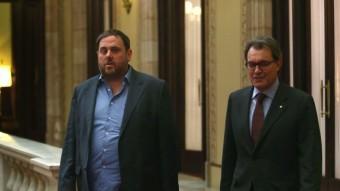 Oriol Junqueras i Artur Mas aquest dijous al Parlament EFE