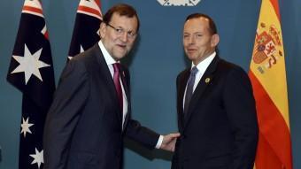 Mariano Rajoy amb el president d'Austràlia, Tony Abbot, a la cimera del G-20 REUTERS