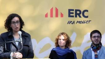 La secretària general d'ERC, Marta Rovira, intervé durant l'acte de presentació del candidat a l'alcaldia de Mollet del Vallès, aquest dissabte al matí ACN
