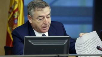 El president del consell d'administració de RTVE, José Antonio Sánchez durant la comissió de control. EFE