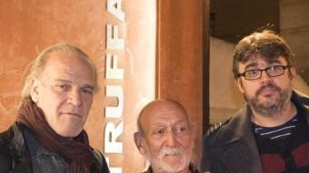 Lluís Homar, Josep Maria Domènech, Pere Vilà i el productor David Gimbernat, ahir al Truffaut GLÒRIA SÁNCHEZ / ICONNA