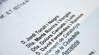 Imatge de la carta que han rebut com a notificació Jordi Turull, Marta Rovira, Dolors Camats i David Fernández ACN