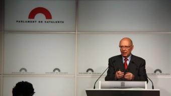 El president del PNDD, Joan Rigol, aquest dimecres al Parlament Foto:ACN