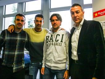 El cos tècnic de la selecció –Puigdollers, Gerard, Roger i Aguado–, dilluns a la seu de la FCF ÀLEX GALLARDO / FCF