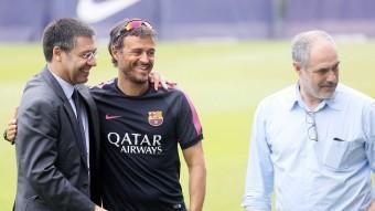 Josep Maria Bartomeu , Luis Enrique i Andoni Zubizarreta. REUTERS