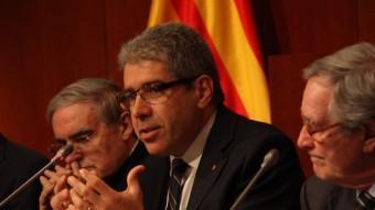 El conseller de la Presidència, Francesc Homs, durant l'acte d'aquest dijous al Palau de la Generalitat ACN