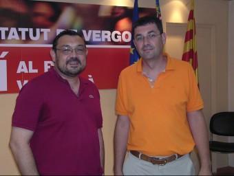 El president d'Esquerra, Agustí Cerdà i el secretari del Bloc, Enric Morera. J. CUÉLLAR