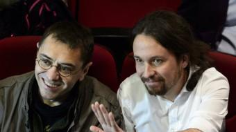 Juan Carlos Monedero i Pablo Iglesias, fundadors del projecte Podem, en una imatge del passat mes d'abril AFP