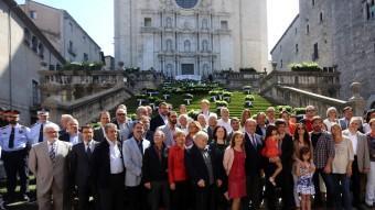 Foto de Família de l'acte inaugural de l'exposició de flors Quim Puig