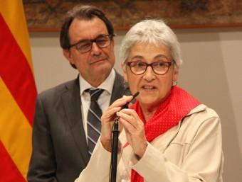 La presidenta d'Òmnium Cultural, Muriel Casals, al Palau de la Generalitat