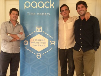 Els tres fundadors de l'empresa: Victor Obradors, Fernando Benito i Xavier Rosales.  ARXIU