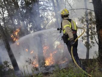 Un bomber treballant en les tasques d'extinció JORDI BORRAS