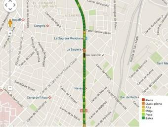 Mapa dels trams de la Via Lliure de l'11 de Setembre EUROPA PRESS