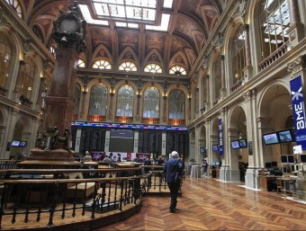 Una imatge de l'interior de la Borsa de Madrid EUROPA PRESS