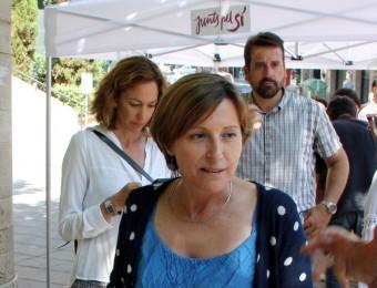 La número 2 de Junts pel Sí, Carme Forcadell, en un acte a Manresa a l'agost ACN