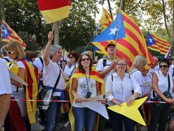 Algunes de les persones que hi havia ahir en el tram dels nordcatalans de la Via Lliure JUANMA RAMOS