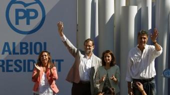 Camacho, Rajoy, Levy i Albiol ahir en el míting del PP a Badalona LLUIS GENE / AFP