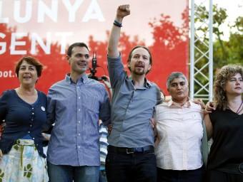 Lienas,Ortega, Iglesias, Lozano i Ayguasenosa ahir en el míting de Mataró A.DALMAU /EFE
