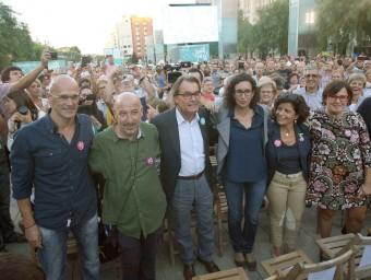 Raül Romeva, Germà Bel, Artur Mas i Marta Rovira, ahir al vespre a Reus JAUME SELLART / EFE