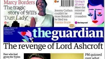 Portada del diari britànic The Guardian EPA