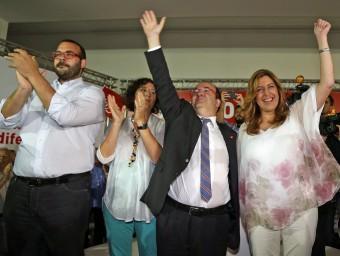 La presidenta andalusa va acompanyar ahir Iceta en el míting de Mataró JUANMA RAMOS