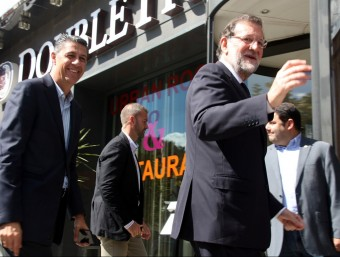 Mariano Rajoy i Xavier Garcia Albiol arribant a l'Hotel URH Girona per participar en un acte amb afiliats ACN