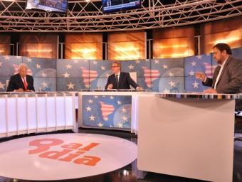 Margallo i Junqueras en el debat ahir a 8Tv, moderat per Josep Cuní 8TV