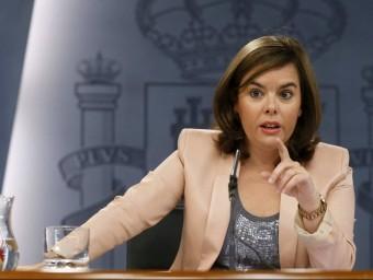 La vicepresidenta Soraya Sáenz de Santamaría, ahir, a La Moncloa EFE