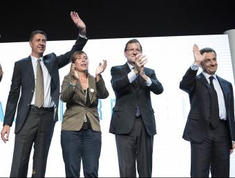 Albiol, Camacho, Rajoy i Sarkozy ahir en el míting final del PP JOSEP LOSADA