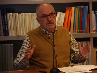 El Síndic de Greuges, Rafael Ribó, ahir durant la presentació de l'informe sobre les inundacions d'Agramunt ACN