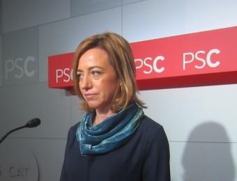 La cap de llista del PSC-PSOE a les eleccions del 20-D, Carme Chacón, aquest dilluns a la seu del partit EUROPA PRESS