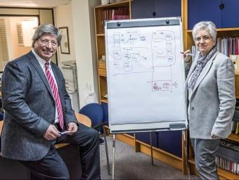 Lluís Blanch, soci fundador, a l'esquerra, i Eulàlia Clos, consellera delegada, a la dreta.  JOSEP LOSADA