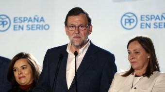 El líder del PP, Mariano Rajoy, aquest diumenge a la seu del partit, a Madrid Foto:EFE